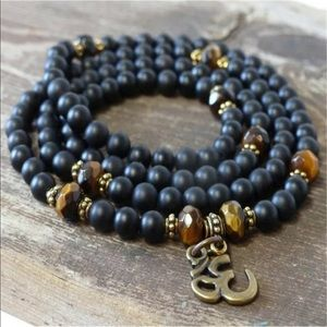 Black obsidian & Tigers eye mala necklace/bracelet